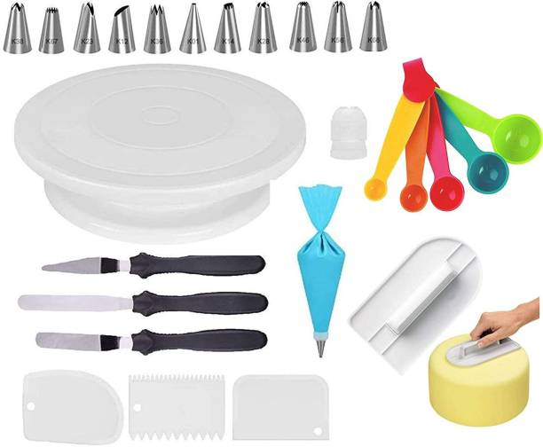 Gabani fashion combo56 cake decoration tools for cake baking and making tools for home 1 cake stand+ 12 piece nozzles+ 3 piece scrapper+ 3 knifes+ 1 happy birthday topper+ 5 piece spoon+ smoother Kitchen Tool Set