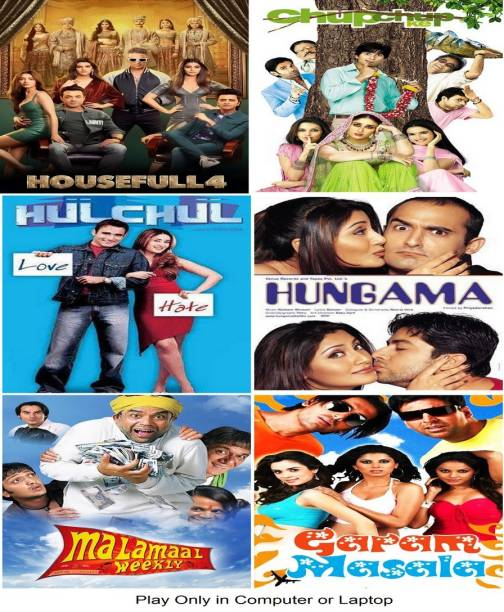 Housefull 4 , Chup Chup Ke , Hulchul , Hungama , Malamaal Weekly , Garam Masala (6 MOVIES) it's DURN DATA DVD play only in computer or laptop it's not original without poster HD print quality