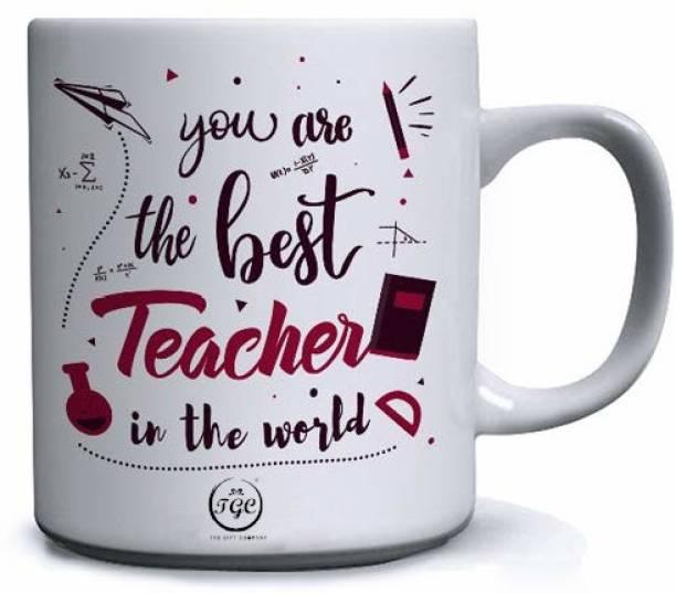 TGC THE GIFT COMPANY you are the best teacher in the world   best teacher in the world mug   white mug   printed mug   gift for your favorite teacher  happy teacher day   Ceramic Coffee Mug