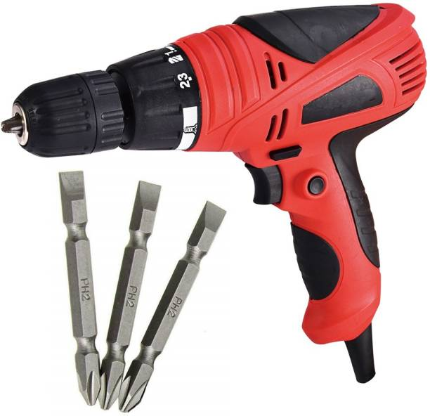 MLD XP-SDS10 Electric 10 mm Screw Driver Cum Drill Machine Torque Adjustment System Spindle Lock Reverse & Forward Collated Screw Gun Corded with 3 PH2+- set *Variant color* Collated Screw Gun