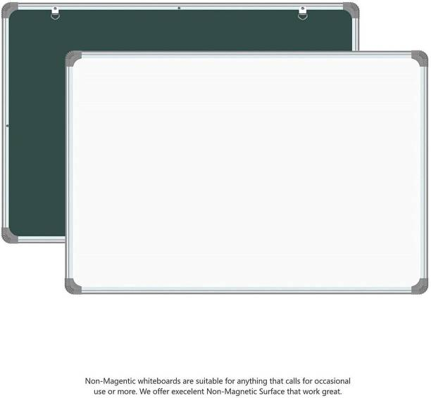 Devew Non Magnetic Melamine 1.5x 2 Ft One Side Glossy White Board Marker Surface and Reverse Side Chalk Board Surface Whiteboard|For Home,Kids And Office Whiteboards