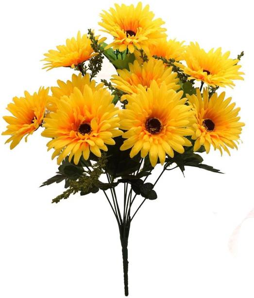 FOURWALLS Beautiful Decorative Artificial Garabara Flower Bunches for Home d�cor (48 cm Tall, 10 Heads, Yellow) Yellow Sunflower Artificial Flower
