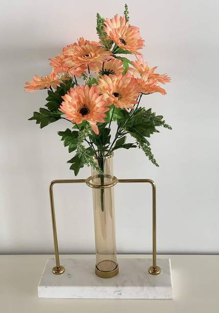 FOURWALLS Beautiful Decorative Artificial Garabara Flower Bunches for Home d�cor (48 cm Tall, 10 Heads, Orange) Orange Gerbera Artificial Flower
