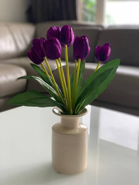 FOURWALLS Beautiful Artificial Tulip Flower Bunch For Home Décor 9 Heads, Purple Tulips Artificial Flower