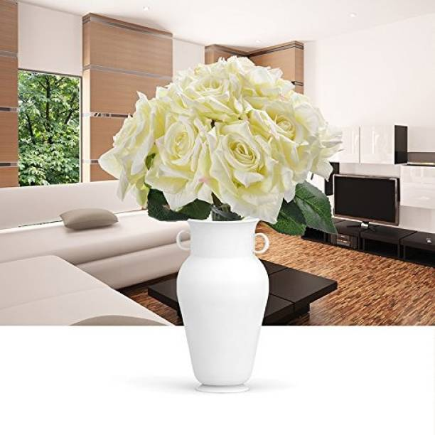 FOURWALLS Beautiful Artificial Decorative Rose Flower Bouquet (26 cm Tall, White) White Rose Artificial Flower