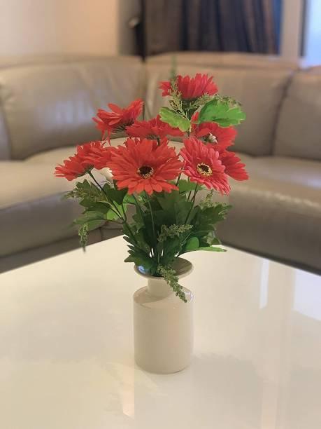 FOURWALLS Beautiful Decorative Artificial Garabara Flower Bunches for Home d�cor (48 cm Tall, 10 Heads, Red) Red Gerbera Artificial Flower