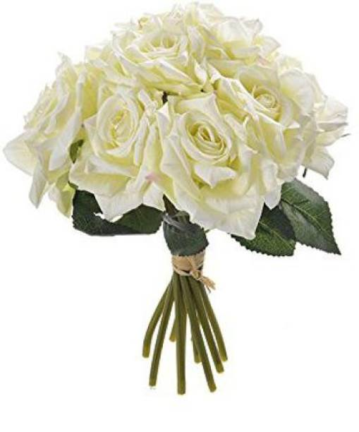 FOURWALLS Beautiful Artificial Decorative Rose Flower Bouquet (26 cm Tall, Blue) White Rose Artificial Flower