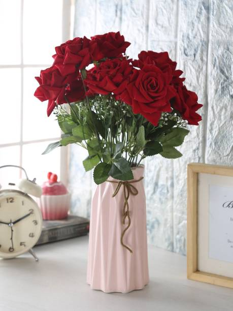 FOURWALLS Artificial Velvet Rose Bouquet Natural Looking Leaves (Red Multicolor Rose Artificial Flower