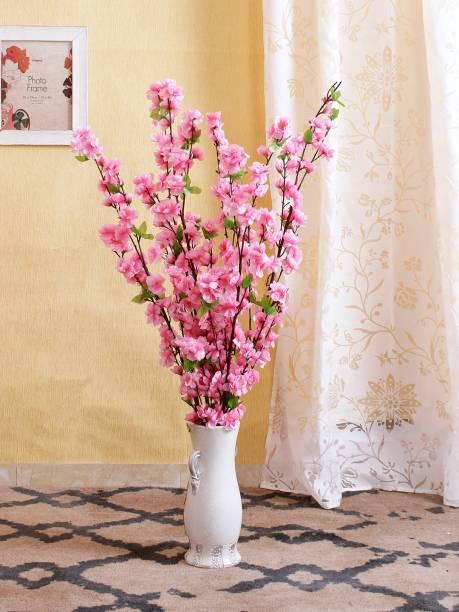 FOURWALLS set of 6 Artificial Cherry Blossom Flower Sticks For Home Décor Pink Cherry Blossom Artificial Flower