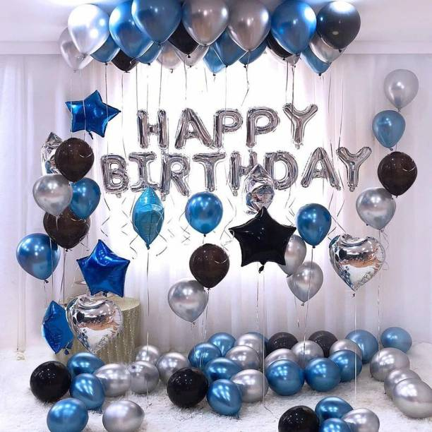 a-one suppliers Solid Happy Birthday Foil Balloon Silver Metallic Balloons Blue, Black and Silver Balloon