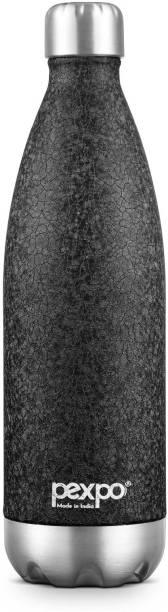 Pexpo Stainless Steel Bottles Electro 1000 ML Tri-ply Vacuum Insulated Steel Bottle 3X Durable Black Colour 1000 ml Bottle