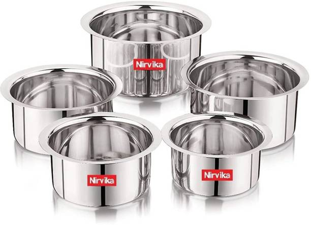 Nirvika 5 Pcs Stainless Steel flat Bottom Container Set/Tope/tapeli/patila Cookware Set heavy Gauge (Capacity 425ml, 550ml, 850ml, 1250ml, 1500ml Approximately) Strong-Durable-Reliable Tope Set (Stainless Steel) Stainless Steel Serving Bowl