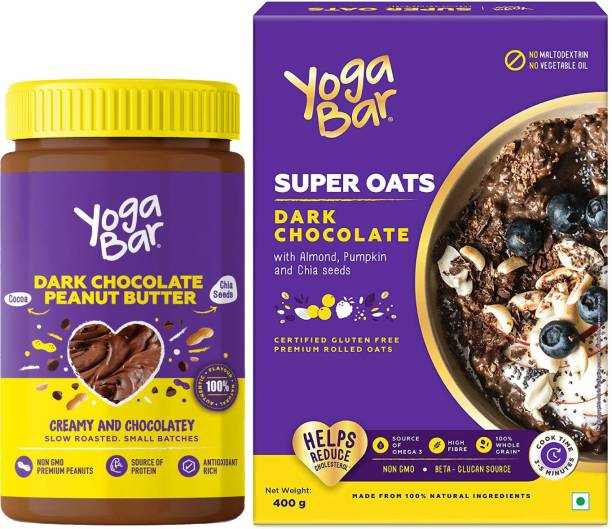 Yogabar Dark Chocolate Peanut Butter | Dark Chocolate Flavour Premium Super Oats Combo Pack - 800gm