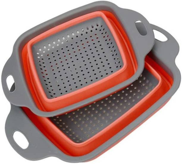 Mahek 2 Pcs Silicone Foldable Drain Bowl Collapsible Kitchen Colander Square Collapsible Washing up Bowl Silicone Strainer Filter Basket for Fruits, Vegetables Collapsible Strainer Collapsible Colander