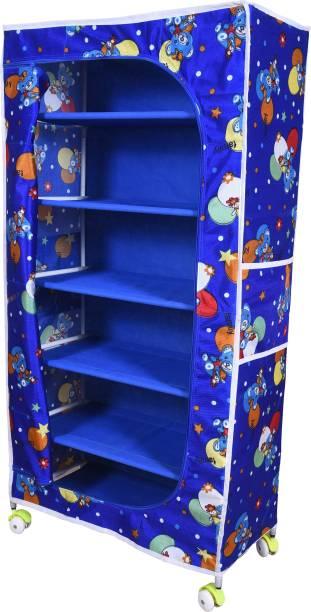 Kids care 6 Shelve Fabric Wardrobe Carbon Steel Collapsible Wardrobe