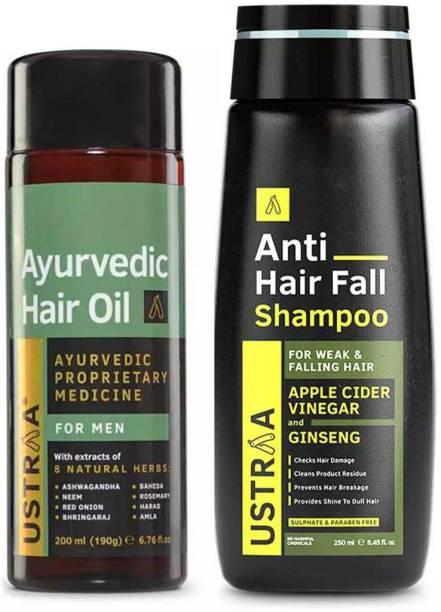 USTRAA Ayurvedic Hair Oil - 200ml & Anti Hair Fall Shampoo - 250ml