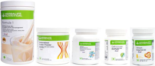HERBALIFE WEIGHT LOSS SUPER COMBO-FORMULA 1+PROTEIN+VITAMIN TABLET+CELLULOSE TABLET+AFRESH Nutrition Drink