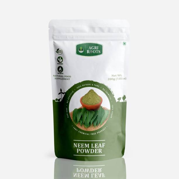 AGRIROOTS NEEM LEAF POWDER (100% PURE & NATURAL NEEM LEAVES POWDER FOR PIMPLE-FREE &CLEAR SKIN, SILKY &GROWTH HAIR) 200 GM