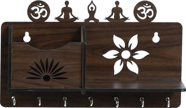 CIRCADIAN CIRCADIAN YOGA & OM DESIGN WOOD KEY HOLDER ( 7 HOOKS ) Wood Key Holder