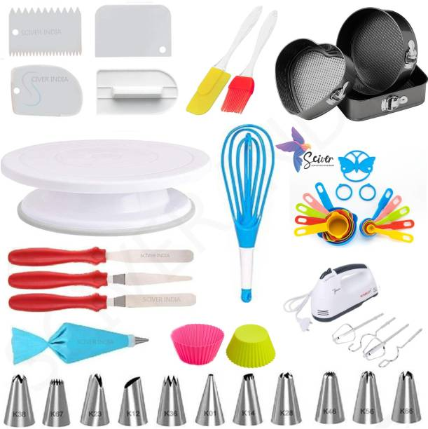SCIVER X-237 All In One Bakeware Cake Combo Tools Cake Baking and making Tools Combo For Cake Decoration At Home, Kitchen And Store Kitchen Tool Set Cake Tools Round Easy Rotate Turntable + 12 Piece Piping Bag Nozzles Cake Decorating Tool Set Frosting Icing Cream Syringe Piping Bag Tips With Steel Nozzles Muffin Dessert Decorators Reusable & Washable Kitchen Tool Set + Multipurpose Heat Resistant Baking Oil Cooking Silicone Spatula and Pastry Brush Set For Cooking + 3 Pcs and Set Scraper Dough Fondant Scraper, Icing Smoother, Baking Supplies Baking CombO + 1 Cake Smoother + 8-Pc COLORING Measuring Cups (240 ml, 120 ml, 60 ml, 30 ml, 10 ml, 5 ml, 2.5 ml, 1.2 ml) +Easy to Handle Ergonomic Handle Designed To Be More Comfortable In Your Hand(Set Of 3 Spatula Knife Set) + different shape cake mould+ 2 pis Muffun Cake Cup + egg beater +Magic Flodable Plastic Whisk and Server Set Popular Combo 11 in 1 BAKING TOOLS SET Multicolor Kitchen Tool Set (Multicolor) Multicolor Kitchen Tool Set
