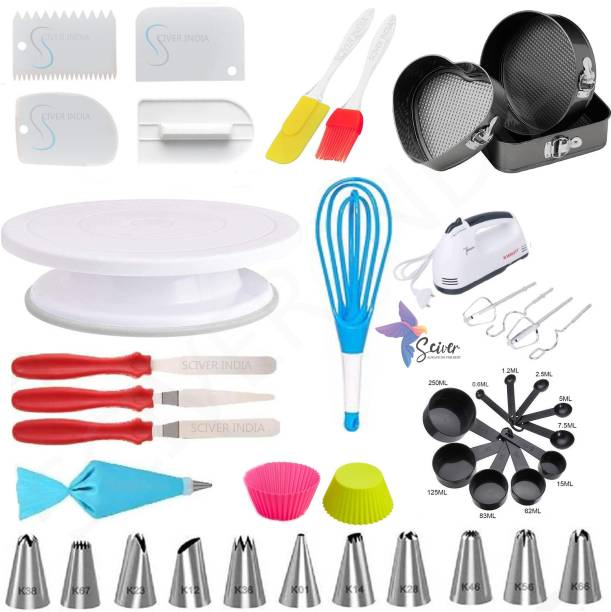 SCIVER X-238 All In One Bakeware Cake Combo Tools Cake Baking and making Tools Combo For Cake Decoration At Home, Kitchen And Store Kitchen Tool Set Cake Tools Round Easy Rotate Turntable + 12 Piece Piping Bag Nozzles Cake Decorating Tool Set Frosting Icing Cream Syringe Piping Bag Tips With Steel Nozzles Muffin Dessert Decorators Reusable & Washable Kitchen Tool Set + Multipurpose Heat Resistant Baking Oil Cooking Silicone Spatula and Pastry Brush Set For Cooking + 3 Pcs and Set Scraper Dough Fondant Scraper, Icing Smoother, Baking Supplies Baking CombO + 1 Cake Smoother + 8-Pc BLACK COLOR Measuring Cups (240 ml, 120 ml, 60 ml, 30 ml, 10 ml, 5 ml, 2.5 ml, 1.2 ml) +Easy to Handle Ergonomic Handle Designed To Be More Comfortable In Your Hand(Set Of 3 Spatula Knife Set) + different shape cake mould+ 2 pis Muffun Cake Cup + egg beater +Magic Flodable Plastic Whisk and Server Set Popular Combo 11 in 1 BAKING TOOLS SET Multicolor Kitchen Tool Set (Multicolor) Multicolor Kitchen Tool Set
