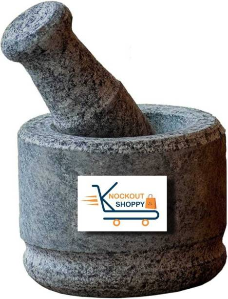 inepta Ancient Kerala Ayurvedic Heavy Stone Mortar and Pestle Made by Pure Kerala Stone 100% Organic Stone Made Imam Dasta/Ohkli Musal/Kharal/Khalbatta/Okhli Masher Stoneware Masher