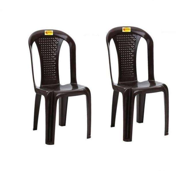 Highway Moulded Durable Chair Pack of 2,(Brown) Plastic Outdoor Chair