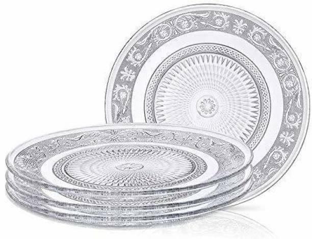 GLASSBAR Self Designer Transparent Round Glass Plate 6 inch Clear (6 Pcs)) Half Plate