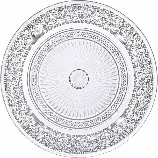 GLASSBAR 9 inch Crystal Clear Glass Plate- Snack Plate for Dining- for Catering Event, Dinner Parties,Wedding Self Designer Transparent Round Glass Plate ( 9 inch Clear ( 4 Pcs) Half Plate