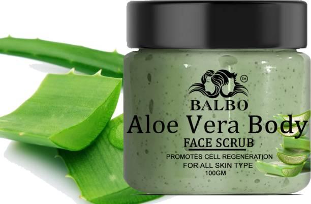 BALBO Aloevera Face Scrub With Hyaluronic Acid Skin Brightening & Shining Skin Pimple Free Skin  Scrub