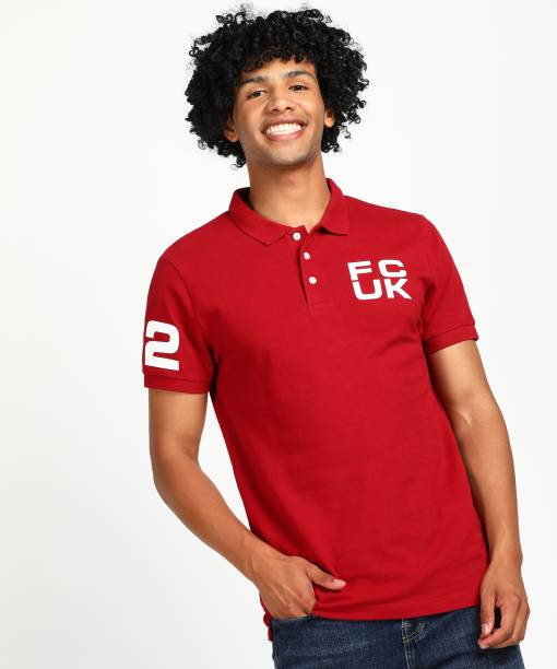 French Connection Solid Men Polo Neck Red T-Shirt