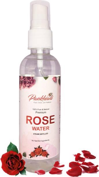 Pankhudi 100% Pure & Natural Premium Rose Water Steam Distilled - Gulab Jal 100ml Men & Women
