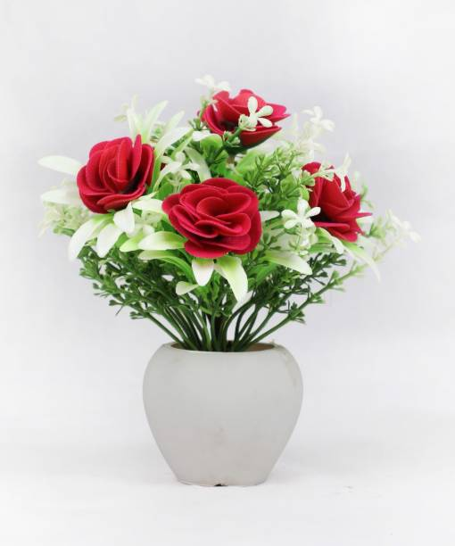 MANSI HANDWORK Multicolor Rose Artificial Flower  with Pot