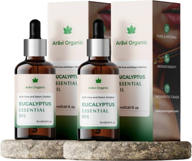 Aravi Organic Eucalyptus Essential Oil (Nilgiri Oil) | 100% Pure, Undiluted, Natural Aromatherapy, Therapeutic Grade Eucalyptus Oil for Cold, Cough, Steam, Clear Breathing, Hair, Joints Pain & Mosquitos