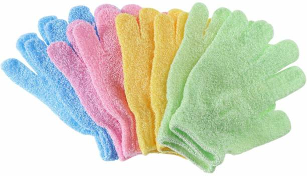 TREXEE (4 PAIR) Exfoliating Shower Bath Gloves for Shower, Spa, Massage and Body Scrubs, Dead Skin Cell Remover