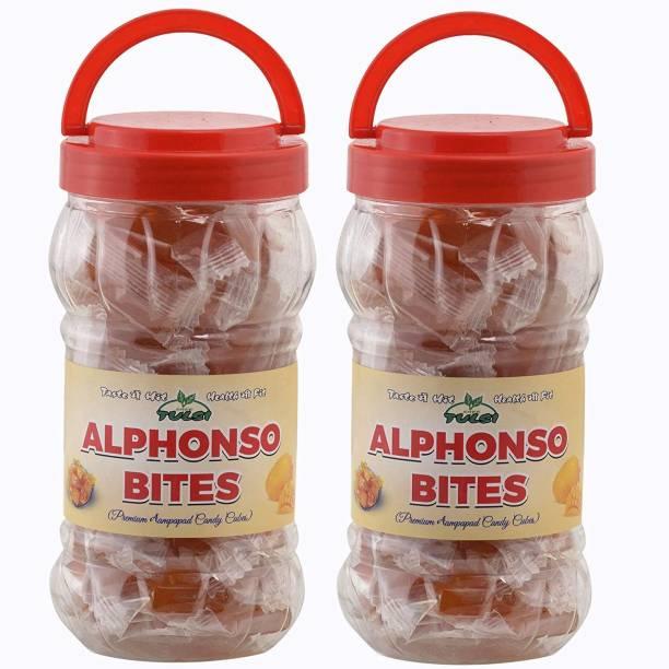 Tulsi ALPHONSO BITES 2 PACKS (400GMS X 2 PCS) AAMPAPAD CUBES/TOFFEE Khatta Mitha, Aam Papad, Mango Jelly Candy