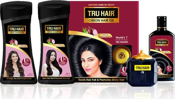 TRU HAIR Onion oil 110 ml with Heater, Onion Shampoo-200ml, Onion Conditioner-200ml (Combo Pack)