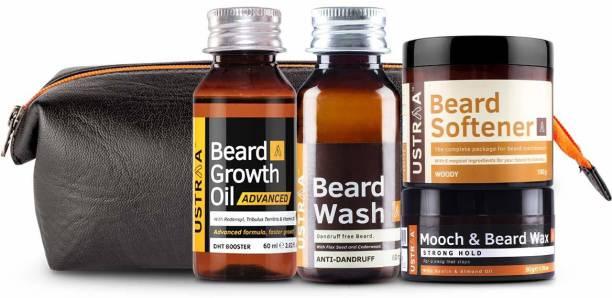 USTRAA Beard Lovers Pack - Beard Growth Oil - Advanced 60ml, Beard Wash 60 ml, Mooch Wax 50g, Beard Softener 100g, and PU kit bag