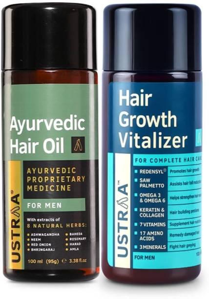 USTRAA Hair Growth Vitalizer - 100ml & Ayurvedic Hair Oil - 200ml