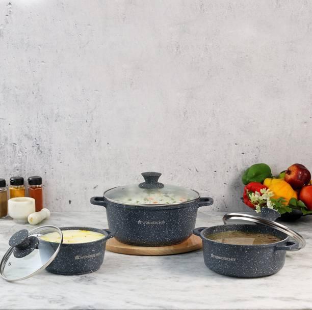 WONDERCHEF Wonderchef Granite Die-Cast Casserole Set (Induction Base) Induction Bottom Cookware Set