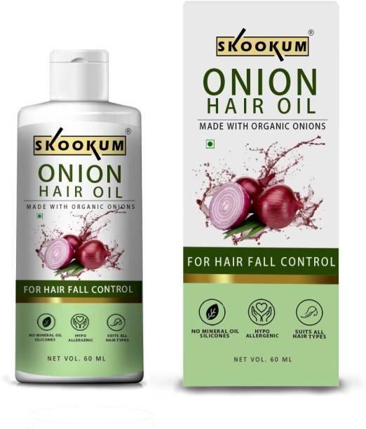 SKOOKUM Onion Black Seed Hair Oil - Controls Hair Fall - NO Mineral Oil, Silicones, Cooking Oil & Synthetic Fragrance, Onion Hair Oil for Hair Regrowth & Hair Fall Control Hair Oil