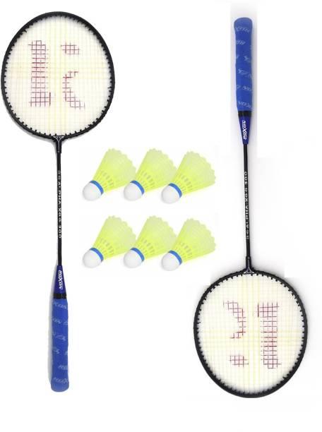 KNK Single Shaft Badminton Racket Pack Of 2 Piece With 6 Piece Plastic Shuttle Badminton Kit