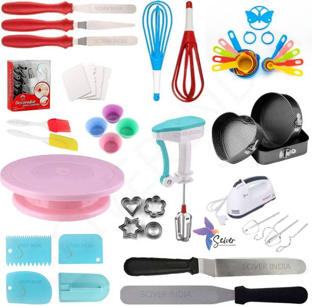 SCIVER X-239 All In One Bakeware Cake Combo Tools Cake Baking and making Tools Combo For Cake Decoration At Home, Kitchen And Store Kitchen Tool Set Cake Tools Round Easy Rotate Turntable + 12 Piece Piping Bag Nozzles Cake Decorating Tool Set Frosting Icing Cream Syringe Piping Bag Tips With Steel Nozzles Muffin Dessert Decorators Reusable & Washable Kitchen Tool Set + Multipurpose Heat Resistant Baking Oil Cooking Silicone Spatula and Pastry Brush Set For Cooking + 3 Pcs and Set Scraper Dough Fondant Scraper, Icing Smoother, Baking Supplies Baking CombO + 1 Cake Smoother + 8-Pc COLORING Measuring Cups (240 ml, 120 ml, 60 ml, 30 ml, 10 ml, 5 ml, 2.5 ml, 1.2 ml) +Easy to Handle Ergonomic Handle Designed To Be More Comfortable In Your Hand(Set Of 3 Spatula Knife Set) + different shape cake mould+ 4 pis Muffun Cake Cup + egg beater + 2PC Magic Flodable Plastic Whisk + 4 pc scrapper + cookie cutter +and Server Set Popular Combo 17 in 1 BAKING TOOLS SET Multicolor Kitchen Tool Set (Multicolor). Multicolor Kitchen Tool Set