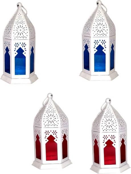 Designer International Designer International Decorative Moksha Hanging Lantern/Lamp with t-Light Candle, SET OF 4BLUE, RED White Iron Hanging Lantern