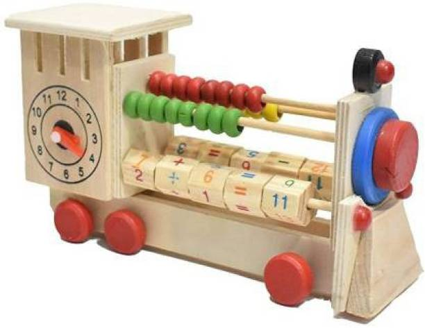 GOLDEN-BRIGHT Wooden Clock Counting Beads Pull Along Multi-Learning 4-in-1 Train Engine Abacus Toy For Handmade Eco Friendly