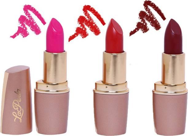 La Perla Creamy Matte Lipstick (PINK PERFECT, INDIE MAROON, DARK SECRET RED)