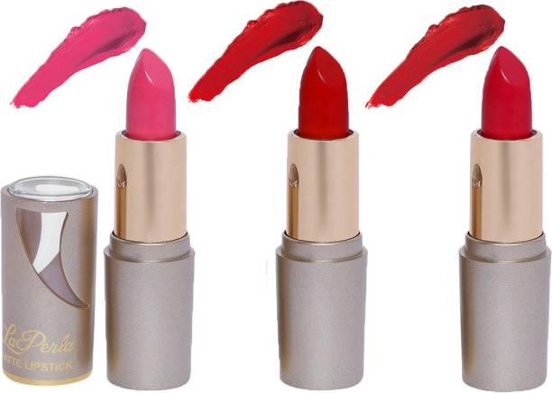 La Perla (Golden Toya) Creamy Matte Lipstick (BABY PINK, SPICY RED, ROSY RED) (Set of 3)