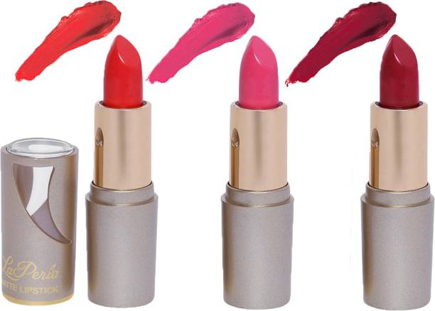 La Perla Creamy Matte Lipstick (TANGY ORANGE, BABY PINK, INDIE MAROON)