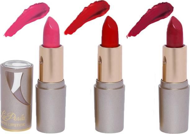 La Perla Creamy Matte Lipstick (BABY PINK, SPICY RED, INDIE MAROON)