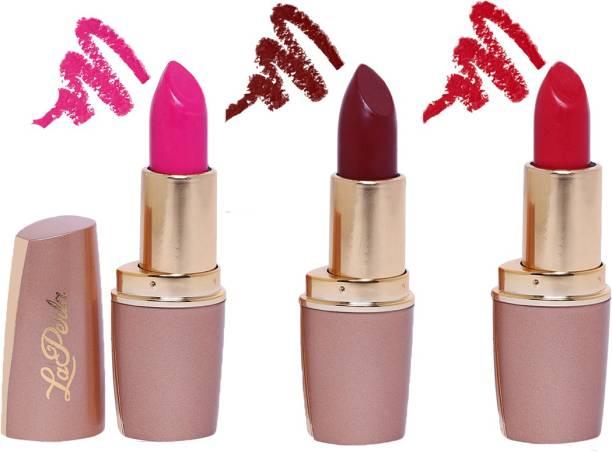 La Perla Creamy Matte Lipstick (PINK PERFECT, SPICY RED, INDIE MAROON)